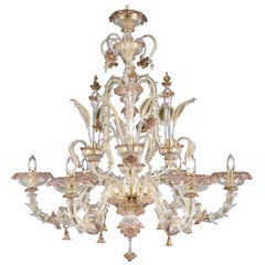 Chandelier 6 arms Crystal and Gold Murano glass  Amethyst Details by Multiforme