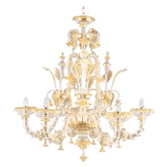 Rezzonico Chandelier 6 arms Crystal Amber Murano Glass Caesar by Multiforme