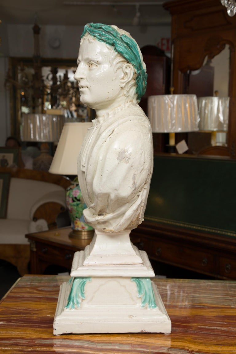 19th Century Caesar Style Glazed Busts For Sale