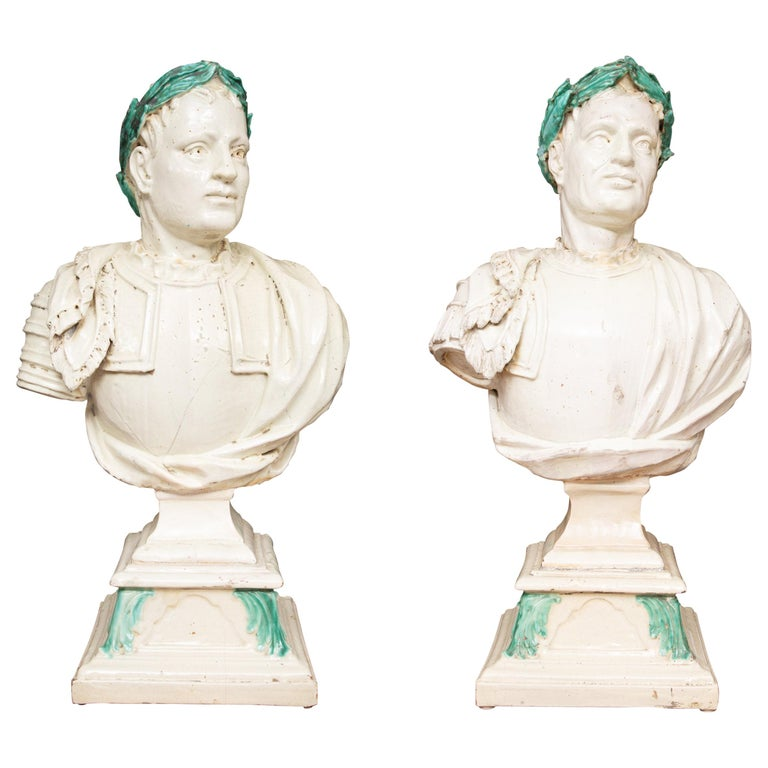 Caesar Style Glazed Busts For Sale