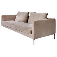 Cafe Colored Velvet Straight Sofa
