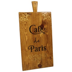 """Cafe de Paris"" Hand Painted Wooden Cheese Board"
