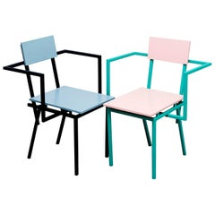 Cafe Restaurant Interior Chair Duo, Metal and Wood, Contemporary Style