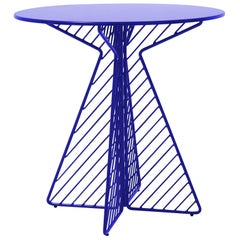 Cafe Table, Metal wire Flat Pack Dining Table by Bend Goods in Electric Blue