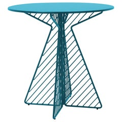 Cafe Table, Metal Wire Flat Pack Dining Table by Bend Goods in Peacock Blue