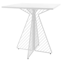 Cafe Table, Metal Wire Flat Pack Dining Table by Bend Goods in Square White
