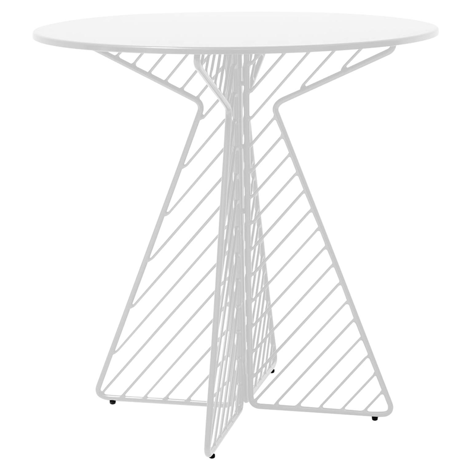 Cafe Table, Metal Wire Flat Pack Dining Table by Bend Goods in White