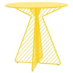 Cafe Table, Metal Wire Flat Pack Dining Table by Bend Goods in Yellow