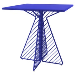 Cafe Table, Metal Wire Flat Pack Dining Table, Electric Blue Square by Bend