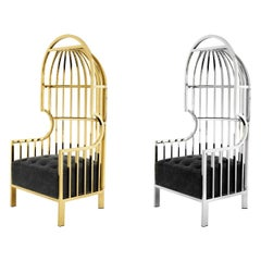 Cage Armchair Gold/Silver 1
