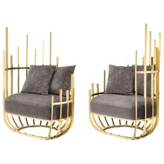 Cage Armchair Gold/Silver 2