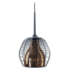 Cage Small Cluster Suspension in Black with Bronze Diffuser by Diesel Living