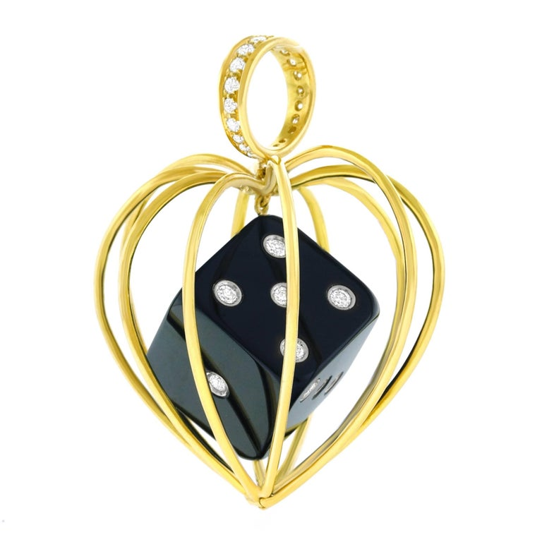 Caged Dice Gold Pendant In Excellent Condition For Sale In Litchfield, CT