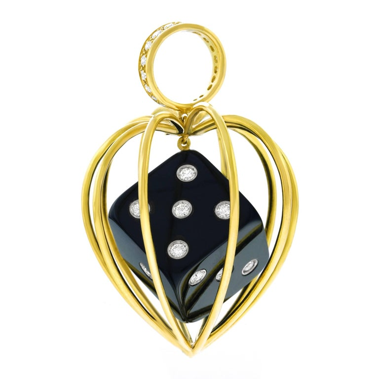 Caged Dice Gold Pendant For Sale 3