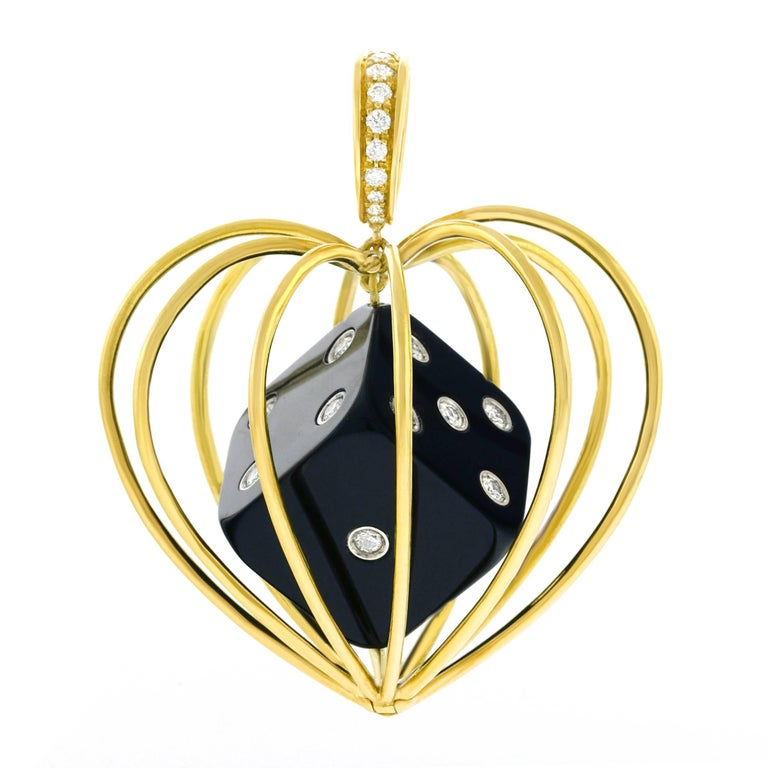 Caged Dice Gold Pendant For Sale