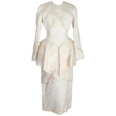 Cailan'd Beige Vintage Wedding Dress Silk Beige 1980s