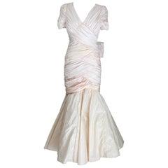 Cailan'd Vintage Mermaid Wedding Dress Pink Silk Short Sleeve 1980s