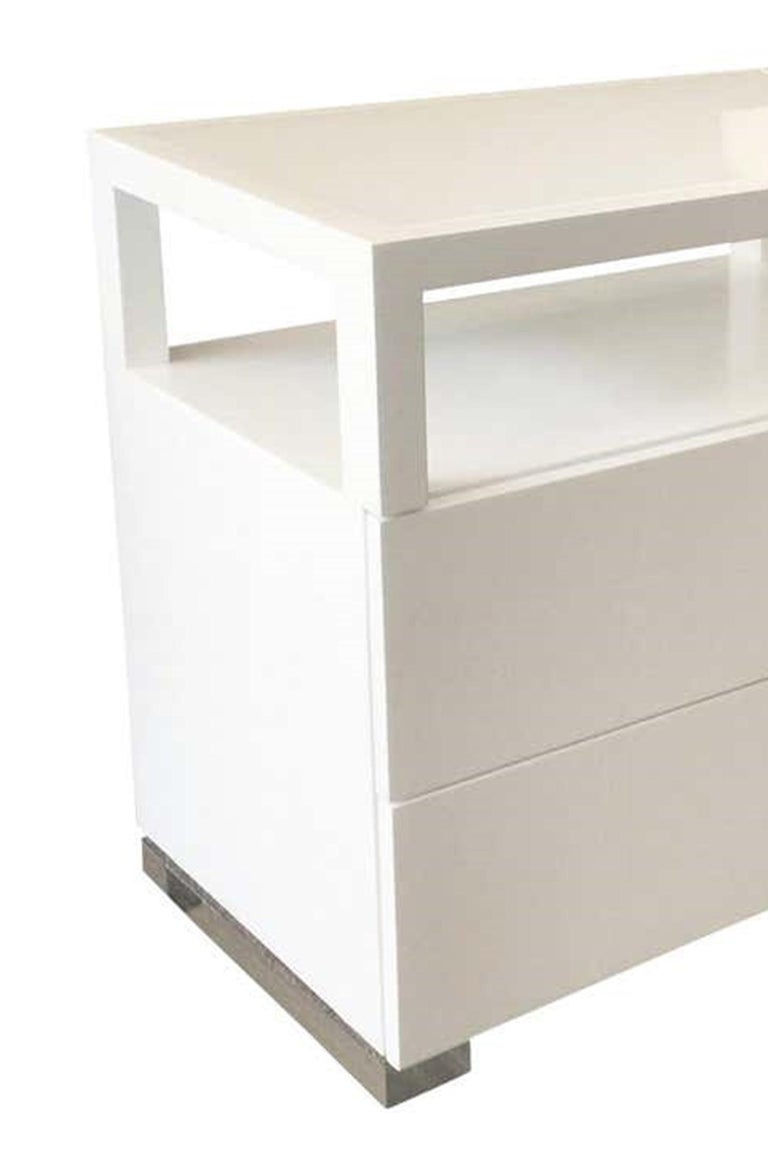 Cain Originals, Modern White Oak and Lucite Dresser with Milk Glass In Good Condition For Sale In Los Angeles, CA