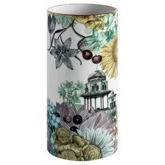 Cairo, Contemporary Porcelain Vase with Decorative Design by Vito Nesta