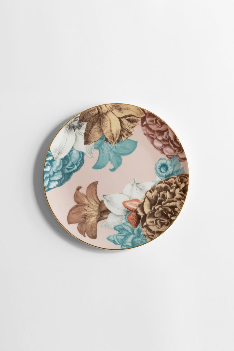 Cairo, Six Contemporary Porcelain Dinner Plates with Decorative Design In New Condition For Sale In Milan, IT