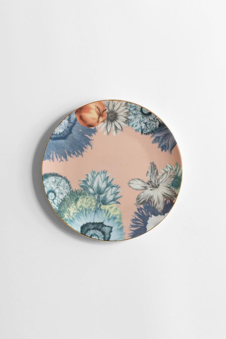 Cairo, Six Contemporary Porcelain Dinner Plates with Decorative Design For Sale 2