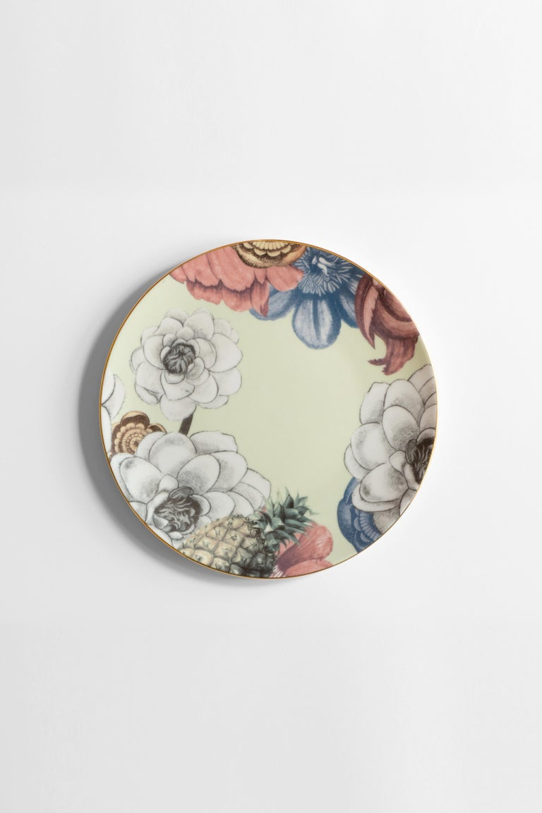 Cairo, Six Contemporary Porcelain Dinner Plates with Decorative Design For Sale 3