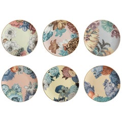 Cairo, Six Contemporary Porcelain Dinner Plates with Decorative Design