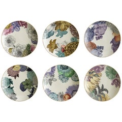Cairo, Six Contemporary Porcelain Soup Plates with Decorative Design