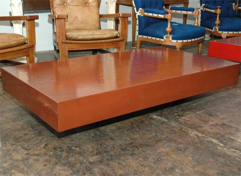Large rectangular 'Caisson' coffee table in cognac crackled lacquer by Design Frères.