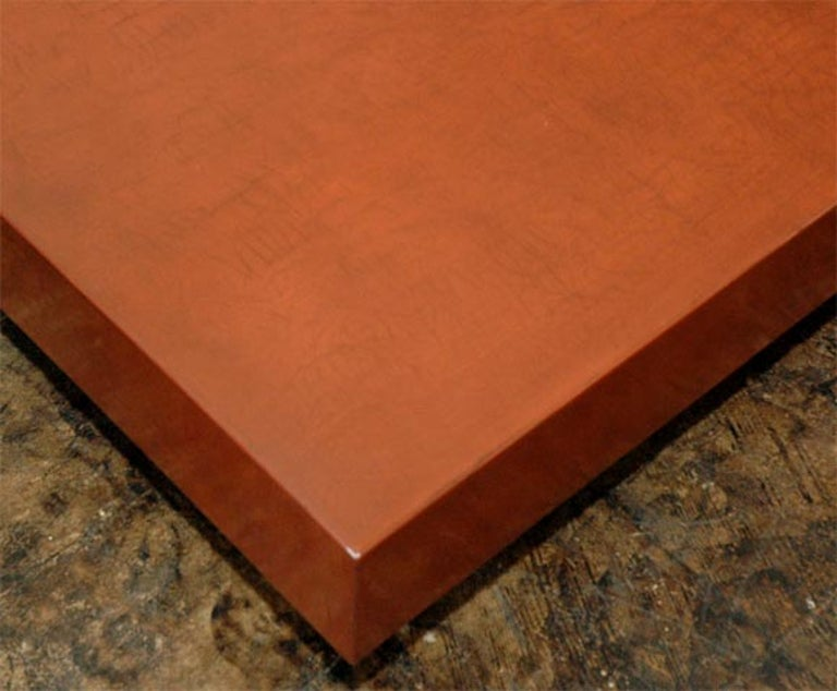 French 'Caisson' Cognac Crackled Lacquer Coffee Table by Design Frères For Sale