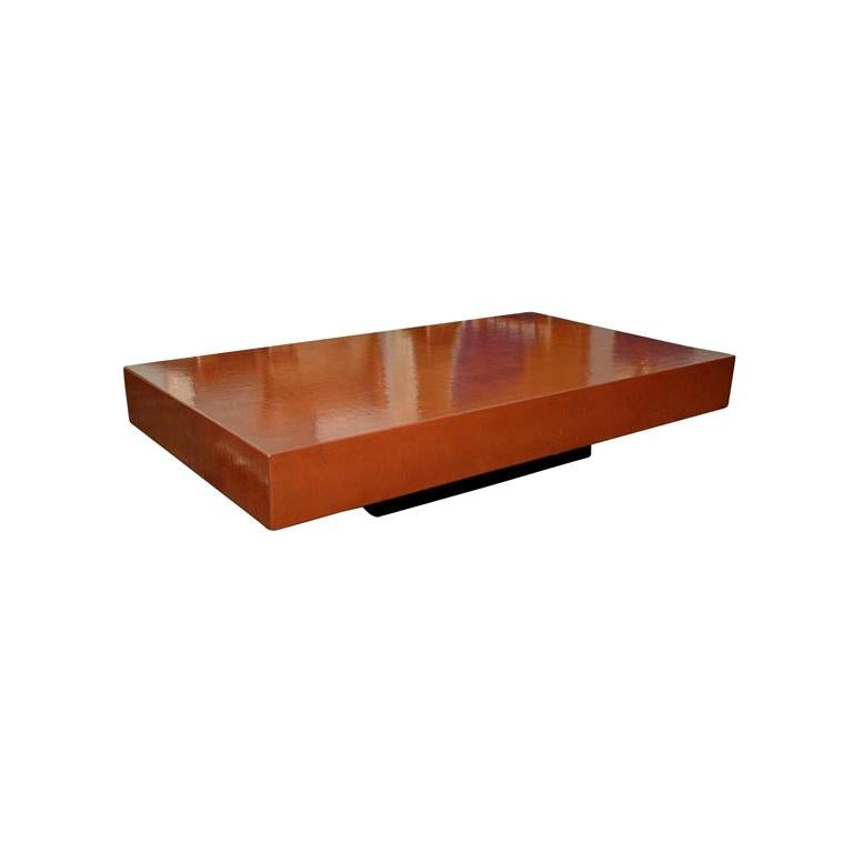 'Caisson' Cognac Crackled Lacquer Coffee Table by Design Frères For Sale