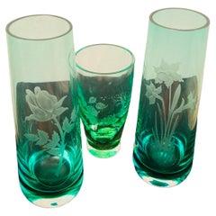 Caithness Glass Engraved Bud Vases