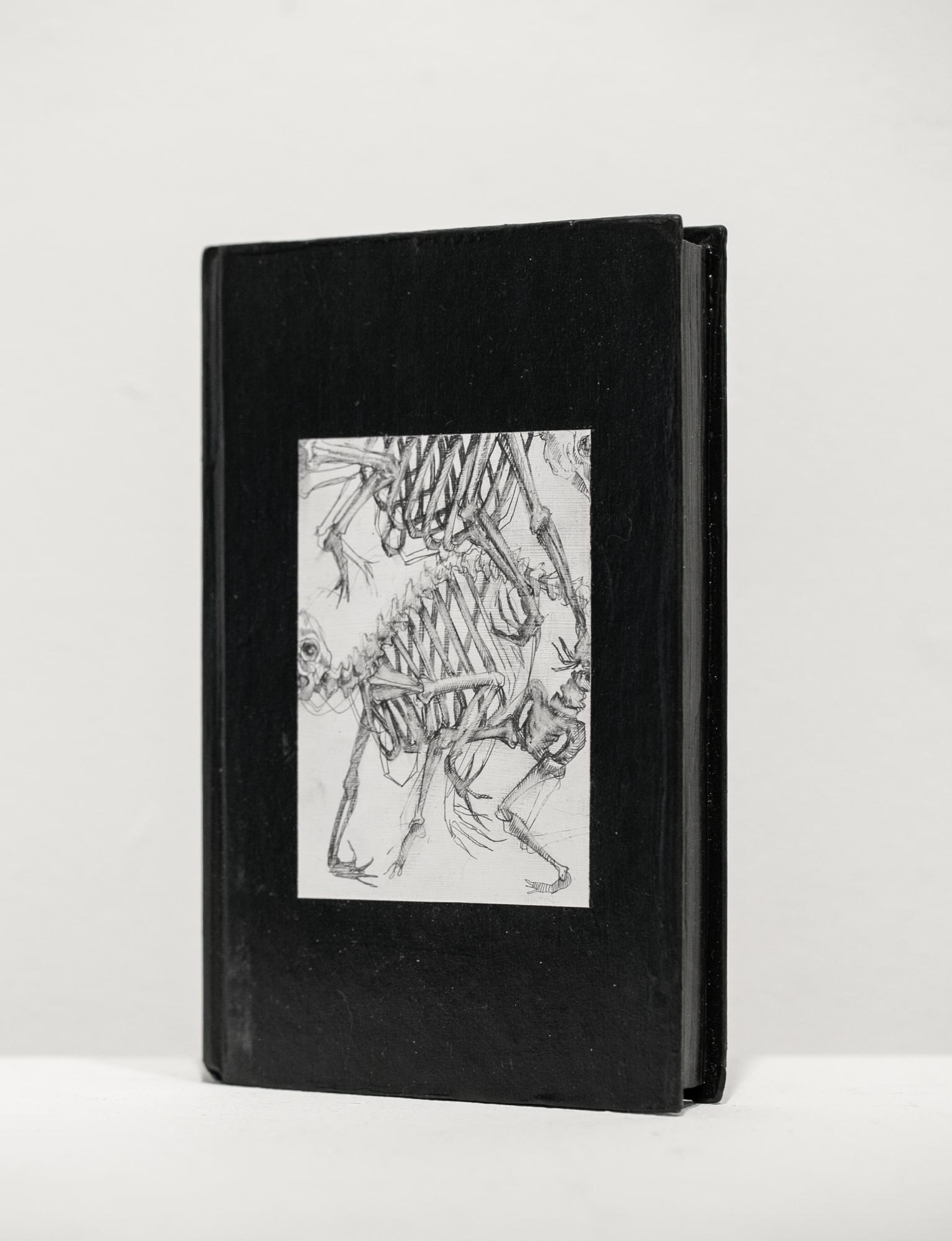 """Brick II"", Drawing on Used Book, Figurative, Black and White, Graphite"