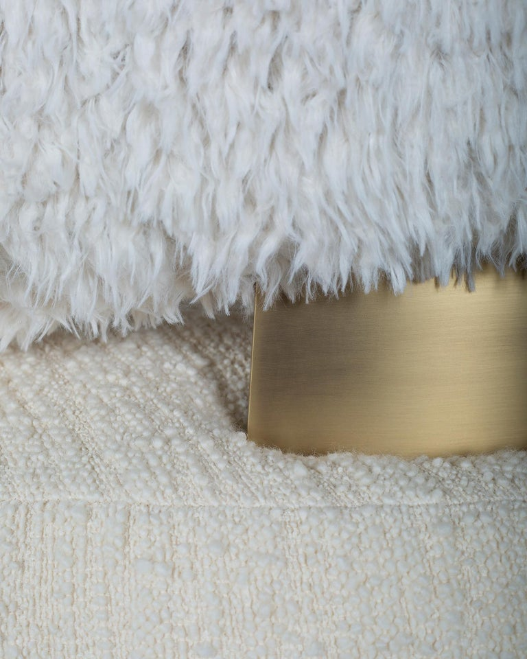 21st Century Caju Armchair Rotating Oxidized Brass Faux Fur Wool Bouclé Fabric In New Condition For Sale In Cartaxo, PT