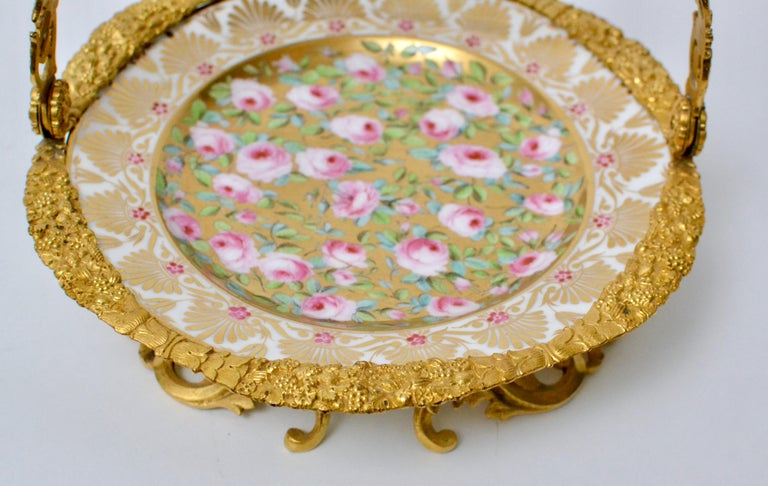 Empire Cake Stand Ormolu Mounted Painted Porcelain Plate with a Gilt Bronze Handle For Sale