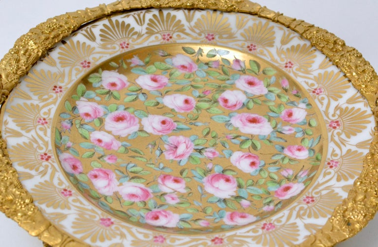European Cake Stand Ormolu Mounted Painted Porcelain Plate with a Gilt Bronze Handle For Sale
