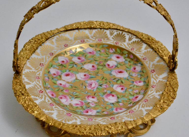 19th Century Cake Stand Ormolu Mounted Painted Porcelain Plate with a Gilt Bronze Handle For Sale