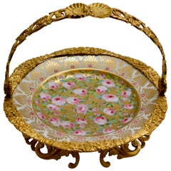 Cake Stand Ormolu Mounted Painted Porcelain Plate with a Gilt Bronze Handle