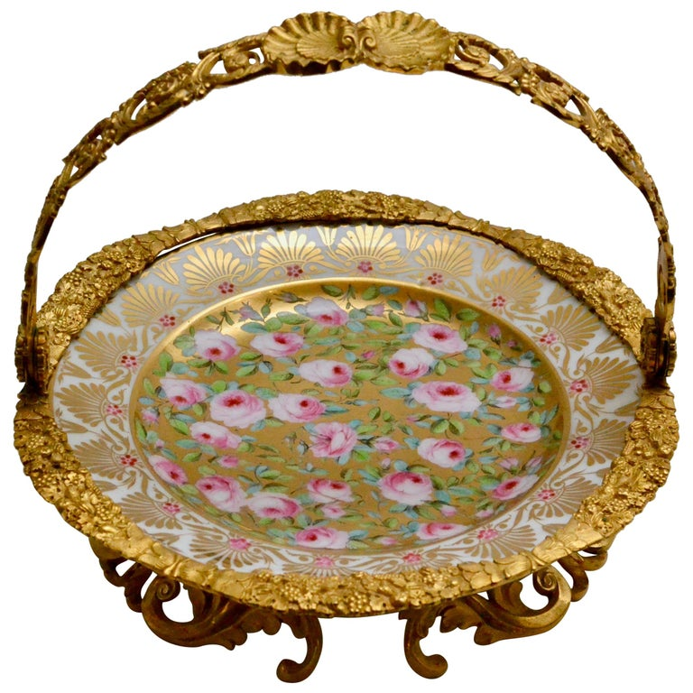 Cake Stand Ormolu Mounted Painted Porcelain Plate with a Gilt Bronze Handle For Sale