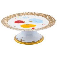 Cakestand Gold Hand Painted Plate Coralla Maiuri Modern New Tableware
