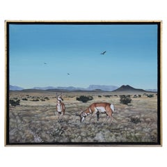 Desert Landscape Painting of Two Pronghorn Antelopes