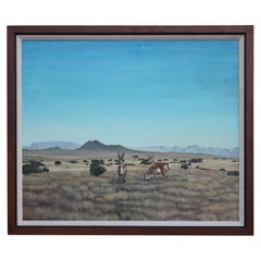 Desert Landscape Painting of Three Pronghorn Antelopes