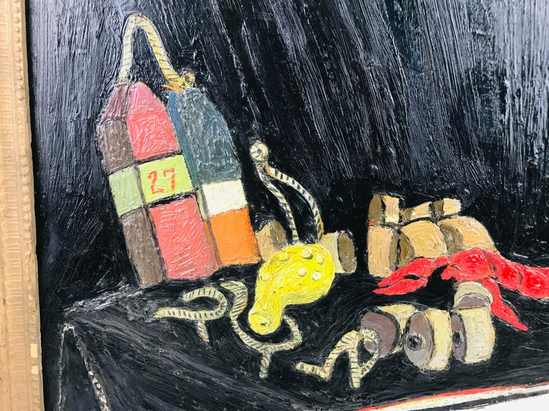 Hand-Painted 'Calabash and Lobster Gear' by De Hirsh Margules Oil on Board For Sale