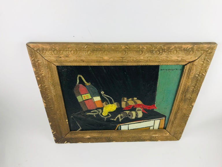 'Calabash and Lobster Gear' by De Hirsh Margules Oil on Board In Good Condition For Sale In Plymouth, MA
