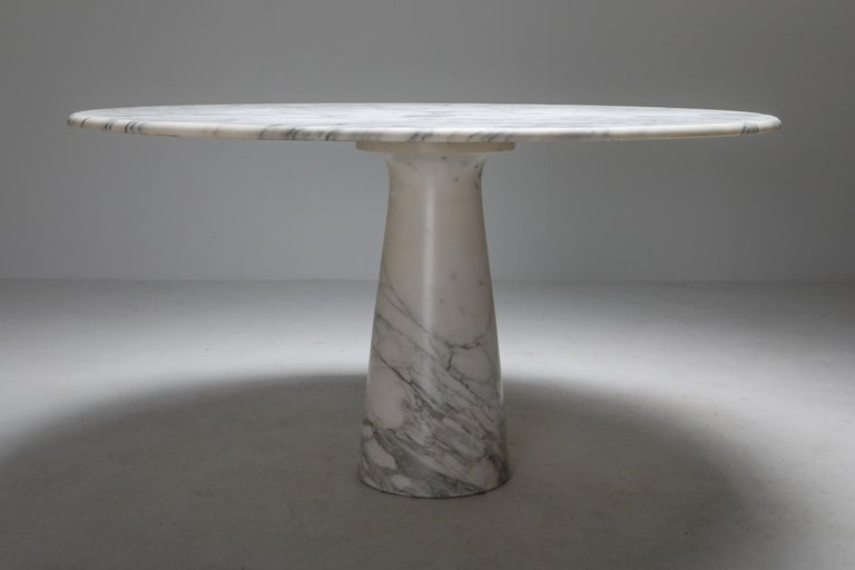 Italian Calacatta Marble Dining Table by Angelo Mangiarotti for Skipper, 1972