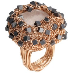 Calcite Hematite Rose Gold Cocktail Ring by Sheila Westera London in Stock