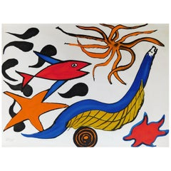 Calder Pencil Signed and Numbered Color Lithograph, 1976, Sea Creatures
