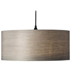 ARA Grande - Gray Tay Wood Drum Chandelier Pendant with 2 LED Dimmable Bulbs