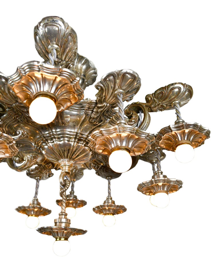 American Caldwell 13 Light Silver Plated Chandelier For Sale