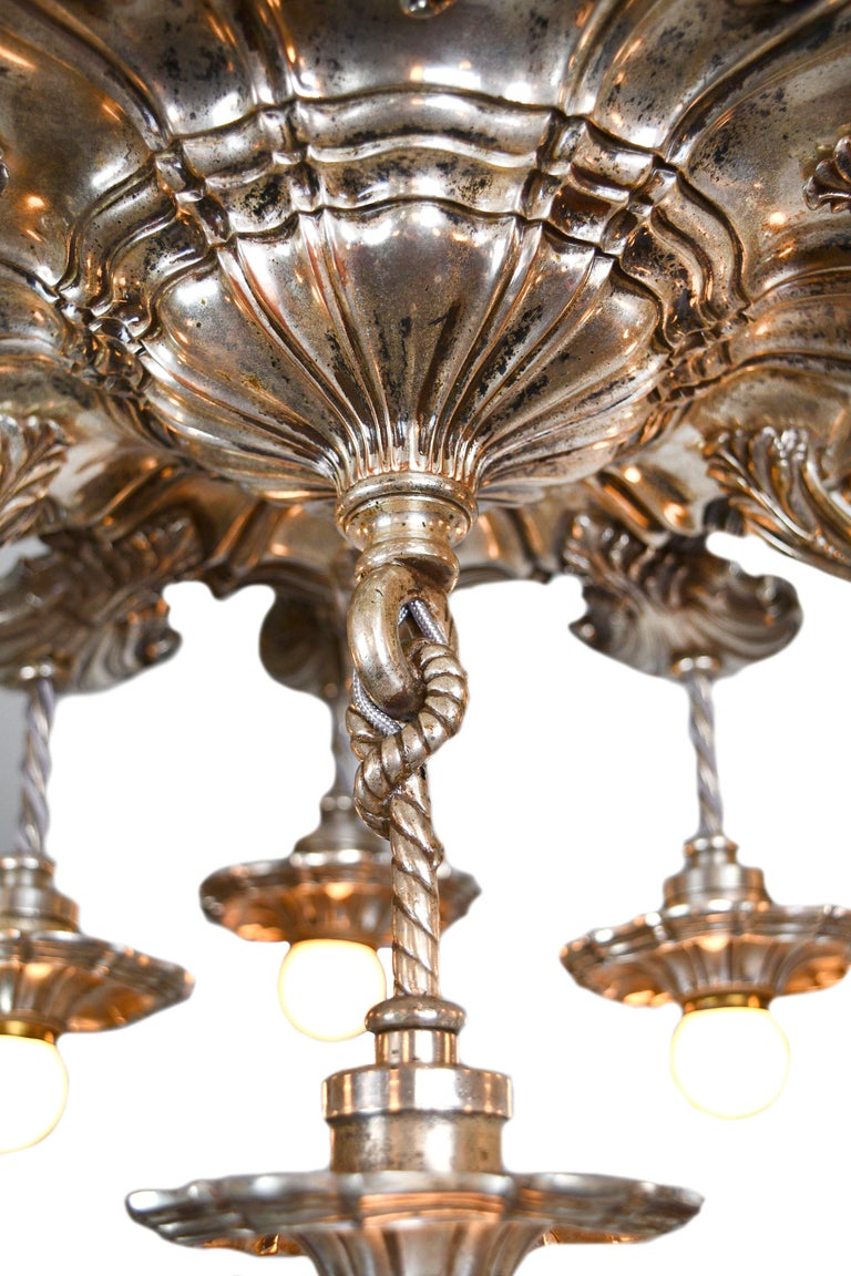 Hand-Crafted Caldwell 13 Light Silver Plated Chandelier For Sale
